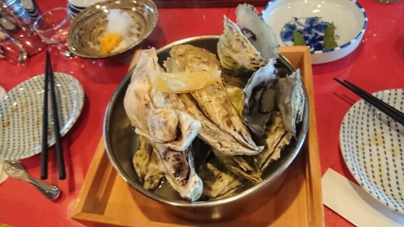殻の三光橋の牡蠣の酒蒸し